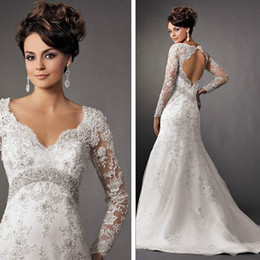 Wholesale 2014 Sexy Hollow Back Vintage Beaded Mermaid Lace Beach Wedding Dresses With V Neck Long Sleeves Court Train DL132000691