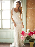 Cheap Wholesale - Mermaid Lace V Neckline Wedding Dresses with buttons back AB 8800