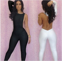 Cotton Sleeveless Long New Fashion 2013 Sexy Jumpsuit Women Bodycon One Shoulder Backless White And Black Jumpsuit Free Shipping