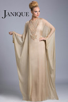 Cheap Plus Size Evening Gowns Dubai Abaya Arabic Mother Of The Bride Dresses Jewel Beads Batwing Long Sleeves Floor Length Chiffon Janique JQ3402