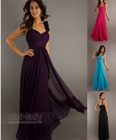 Wholesale Cheap flower ruffle two shoulder hot pink purple blue black colored chiffon long ball party gown bridesmaid Formal Dresses