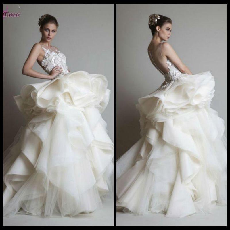 Asymmetrical see through back wedding dress 2014 by for Wedding dress with see through back