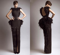 Cheap Free Shipping 2014 New Glamorous Brown Bateau Keyhole Back Slit Peplum Feather Evening Dresses