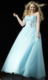 Wholesale Formal Dresses Plus Size A Line Sweetheart Light Blue Beads Flowered Floor Length Sleeveless Chiffon Zipper Special Occasion Dresses