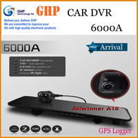 Cheap 6000A Car Dvr Mirror Camera Recorder DVR Dual Lens 4.3' TFT LCD HD 1920x1080p Rear view camera 720P with GPS G-sensor