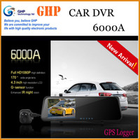 Best 6000A Car Dvr Mirror Camera Recorder DVR Dual Lens 4.3' TFT LCD HD 1920x1080p Rear view camera 720P with GPS G-sensor