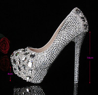Wholesale 2014 Silver Custom Make plus size high heel crystals and rhinestones bridal wedding Pumps shoes Diamond Lady Shoes Party Prom High Heels