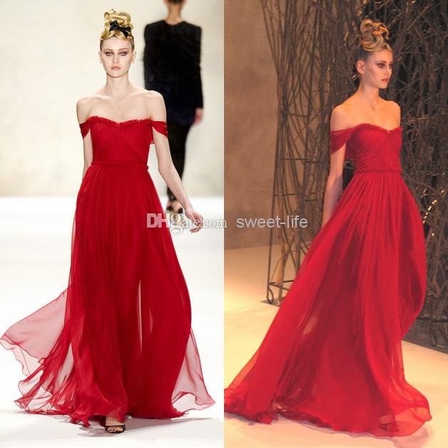 2014 Sexy Red Prom Dresses Chiffon Off Shoulder Pleat Floor Length ...