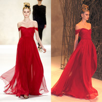 Wholesale New Arrival Sexy Red Prom Dresses Chiffon Off Shoulder Floor Length Cheap Evening Dresses Gowns for Party Pageant Formal Dresses A Line