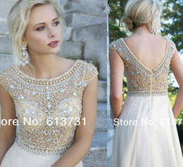 Wholesale Evening Gowns With sheer Short cap Sleeves See Through Crystal Beaded bodice Chiffon A Line Long Prom Dresses Fast Shipping party gown