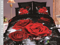 Cheap Free shipping 3D Red rose printed with Queen size bedding set