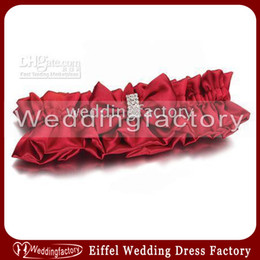 Wholesale Cheap Popular Sexy Hot Sales Red Satin Bridal Wedding Garter with Beads and Bowknot