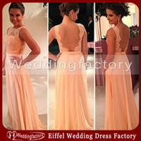 apricot peach - 2014 Hot Selling Backless Evening Dress A Line Bateau Sleeveless Peach Apricot Lace Chiffon Floor Length Bridesmaid Dress