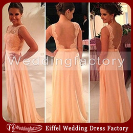 Stunning Sheer Tulle Backless Evening Dress A Line Bateau Sleeveless Peach Apricot Lace Chiffon Full Length Bridesmaid Dress