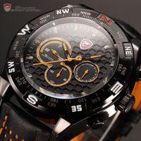 Sport shark - Shark Orange Relogio Hands Dual Time Display Genuine Leather Band Men Quartz Wrap Men Sport Quartz Wrist Watch SH154