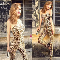 Cheap Hot Sell Women Lady Leopard Sexy Club stretchy Wrapped chest Jumpsuit.Fashion Padded bra cups Skinny Jumpsuit.(Free Shipping)