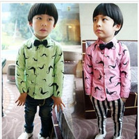 oxford shirts - New Arrival Kids Shirt Spring Fashion Boy Long Sleeve Shirt Kid Mustache Oxford Gentry With Bow Tie Shirt
