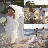 A-Line Reference Images Sweetheart Free shipping! Megan Fox Sweetheart Sleeveless Beach Wedding Dress With Long Train HWB6