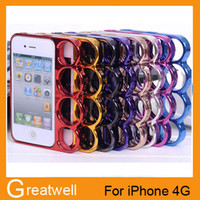 apple bran - Bran New Four Ring Border Knuckle Case PC Electroplating Metal Cell Phone Protector Frame Shell For iPhone S S iphone free