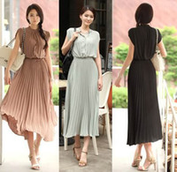 Cheap Free Shipping Summer Short Sleeve Pleated Mid-Calf Chiffon Maxi Dress,Chic Women Stand Collar Empire Waist Princess Boho Dress