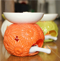 Wholesale Flower Carved Color Ceramic Fragrance Oil Burner Vantines Incense Burner Home Decoration DC814