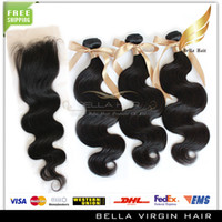 Wholesale 100 Peruvian Full Head Virgin Human Hair Weft pc pc Closure Natural Color Body Wave quot quot