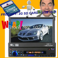 Best Car Audio MP5 Player with 7-inch retractable screen HD RMVB Support Rear view, Support USB SD,HD digital display single spindle