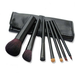 Wholesale 7pcs Professional Makeup Brushes Sets Black Pro Cosmetic Makeup Tools Soft Sable Goat Hair Makeup Brushes Kit with Bag Case Factory Price