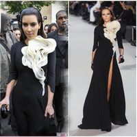 Reference Images Jewel Chiffon Kim Kardashian Dress Paris Fashion Week Red Carpet Ruffles flower front black white tigh high split 3 4 long sleeves Celebrity evening dress