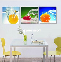 Modern No No Free shipping 3 Panels restaurant Decorative Canvas Painting Modern Huge Picture Paint Print fruits Art wall decoration