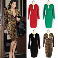 Wholesale 2014 New Sexy Women Fashion Evening Dresses Long Sleeve Prom Sexy Club Dresses Low cut V Neck Street Style Party Dresses