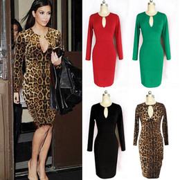 Wholesale 2014 Newest Hot Sexy Girls Women Fashion Evening Dresses Long Sleeve Party Prom Club Wear Low cut V Neck Street Style Dress Size Colors