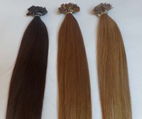 "Indian Hair chestnut brown Straight 20"" 50cm Flat Tip Keratin Human Hair Extensions Indian Remy 6# chestnut brown color 1g s 100g 100s pack AAA Grade Free shipping"