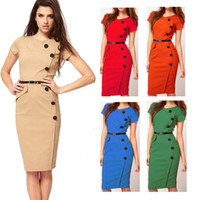 Wholesale 2014 New Fashion Women Dresses Short Sleeve Round Collar Casual Dresses OL Work Knee Length Work Dresses Sizes