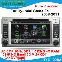 Wholesale 1080p HD Pure Android Car DVD Player for Hyundai Santa Fe A8 chip G CPU DDR DSP sound effects parts digital EQ