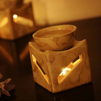 Wholesale 8 cm Classic Beige Ceramic Fragrance Oil Burner Aromatherapy Oil Holder Candle Base Home Decoration DC812