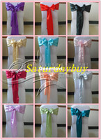 Wholesale Wedding Satin sashes ribbon back chair bow tie wedding decoration wedding table runner chair band