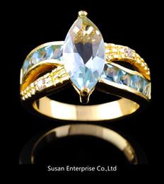 2017 bague en or aquamarine Bijoux mariage Aquamarine saphir dame de 10KT or jaune rempli Ring pour cadeau SZ 8 1pc freeshipping bague en or aquamarine sur la vente