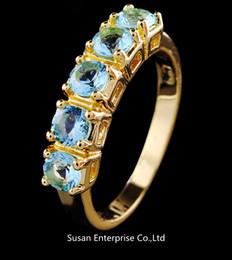 Promotion bague en or aquamarine Bijoux Aigue-marine saphir femmes 10KT or jaune Rempli Ring pour cadeau et fête Taille 8 1pc freeshipping