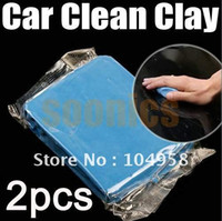 Cheap New Blue Practical Magic Car Clean Clay Bar Auto Detailing Cleaner Cleaning Kit Free Shipping 2pcs lot