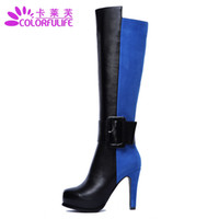 Wholesale 2013 new winter sexy thin high heel patchwork zipper genuine full grain leather woman women s knee high boots shoes EUR