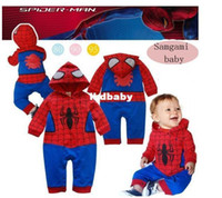 Cheap Wholesale - baby boy romper long sleeve hoodie romper with spider-man cool boy wearing clothes 100%cotton 0-2T Retail