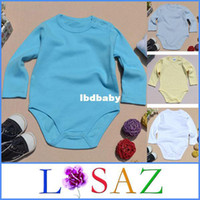 organic baby rompers - New Kid Cotton Organic Baby Bodysuits Fashion Designer Long Sleeve Solid Overall Outerwear Baby Rompers Baby Clothing