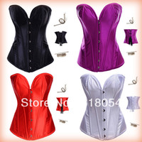 Cheap New Arrival 4 Colors Bustier Sexy Black Beauty Overbust Bustier Corset Full steel boned Gothic Corselet Plus Size Shipping