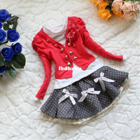 Wholesale QZ Freeshipping New children clothing set fashion girls flower suit coat t shirt skirt autumn baby set Retail