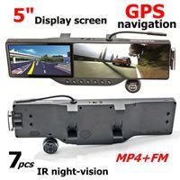 "Cheap car dvr Car rear view mirror camera + GPS navigation with 5"" LCD + 7IR nigth vision + FM + MP4 + Bluetooth headset car back mirror DVR"