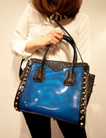 Wholesale 2013 New Fashion Snake Print Color Blocking PVC Tote Bag For Woman leather handbags r17 u22 bda