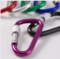 Cheap 10pcs packing sale 5# Aluminum Climbing Hook Carabiner(48*4) with security lock for Out door sports