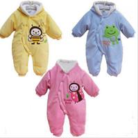 Girl bee romper - Hot Sale New baby Winter hooded Bee Velvet thickened onesies romper pant Infants cartoon warm jumpsuits bodysuits