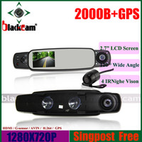 "1 channel 1.5 1280x720 3.0"" Car DVR 3 Channels GPS Rear View Mirror Cameras in 2013,2 Dual HD720P Cameras With External Rear View Len+GPS+G-SENSOR"